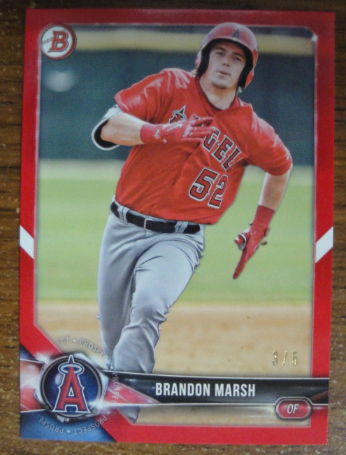 Brandon Marsh 2018 Bowman Draft Angels of Anaheim Red Numbered 3/5