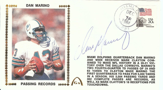Dan Marino Signed Auto First Day Cover Cachet 1984 Passing Record JSA V46989
