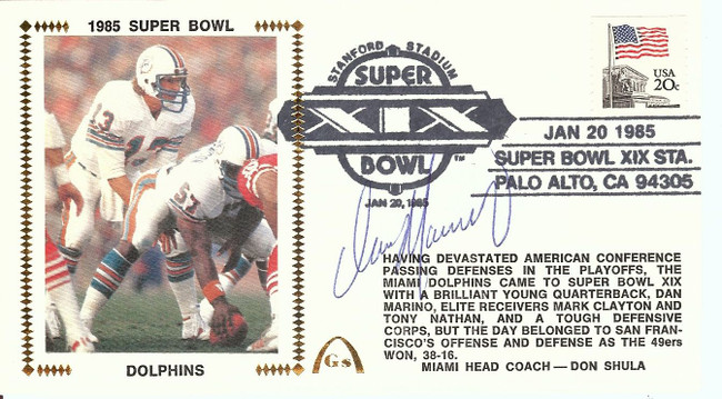 Dan Marino Signed Autograph First Day Cover Cachet 1985 Superbowl JSA U92276