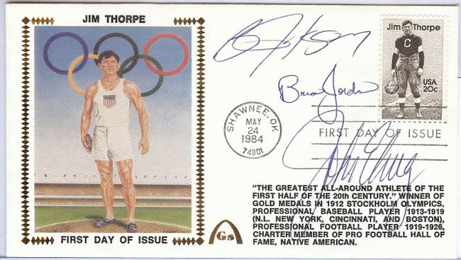 Bo Jackson Brian Jordan John Elway Signed Autographed First Day Cover JSA U82449