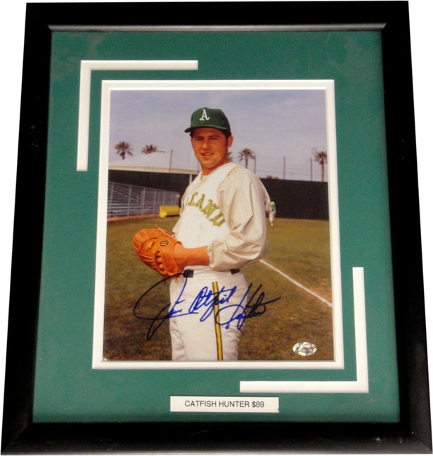 """Jim Catfish Hunter Hand Signed Autographed Framed 8""""x10"""" Photograph Oakland A's"""