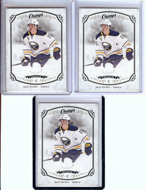 Jack Eichel 2015-16 UD Champs 3 Card RC Rookie Lot Buffalo Sabres #314