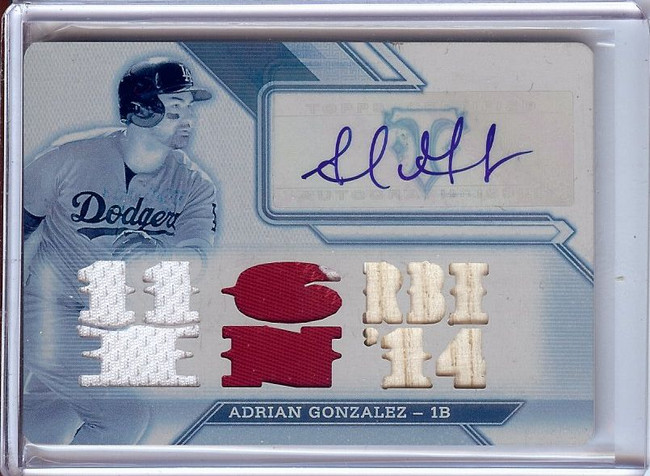 Adrian Gonzalez 2016 Triple Threads Printing Plate Patch Jersey Auto  #AG2 1/1