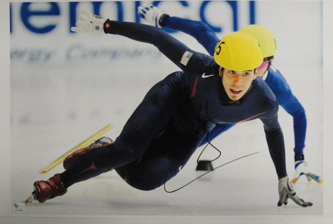 """Apolo Ohno Signed Autographed 11""""x17"""" Photograph USA Olympic Gold Medal Winner"""