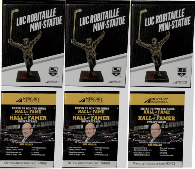 3x Luc Robitaille Mini Statue Stadium  Give Away SGA Bobble Head All New in Box