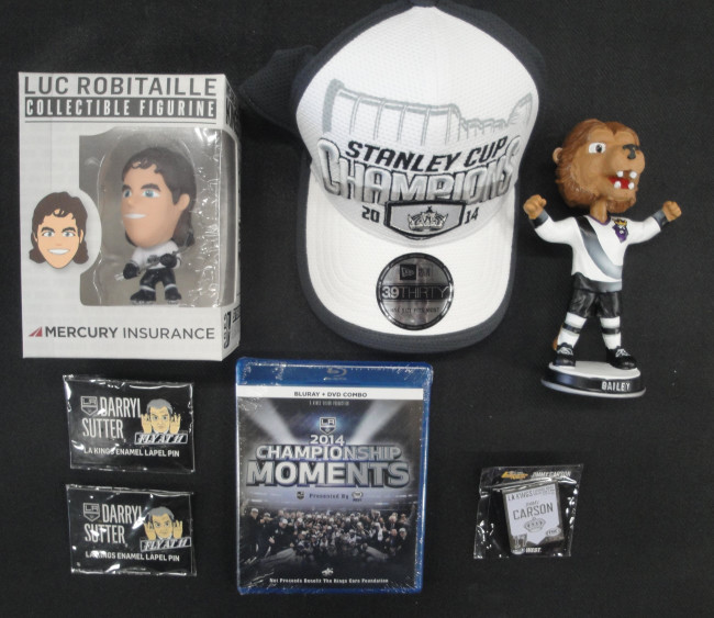 Drew Doughty Bobble Head 2014 SC Kings Hat Blu-Ray Bailey + Pins SGA New