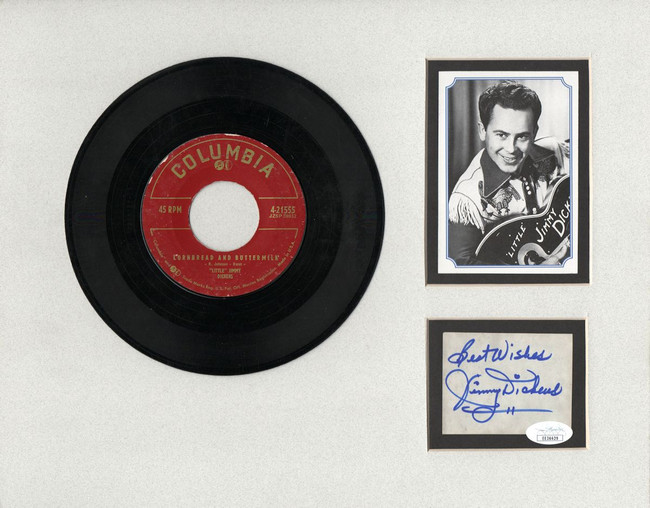 "Jimmy Dickens Signed Autographed 11X14 Matted Cut w/ ""45 Record JSA EE36629"