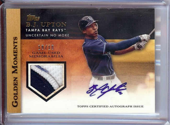 B.J. Upton 2012 Topps Golden Moments Patch Auto Rays #GMAR-BU 10/10