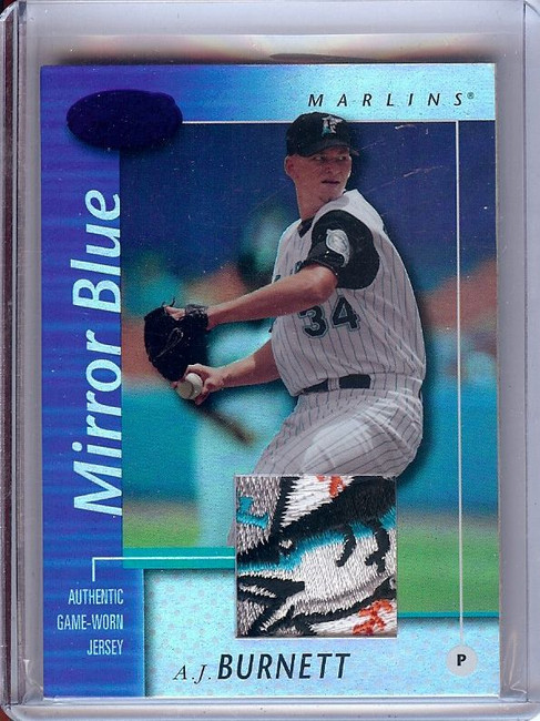A.J. Burnett 2002 Certified Mirror Blue Sick Logo Patch Marlins #54 66/75