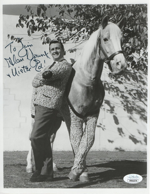 """Alan Young Autographed 8X10 Vintage Photo """"Mister Ed"""" Personalized JSA FF06374"""
