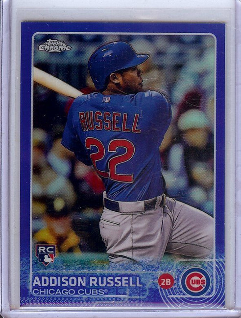 Addison Russell 2015 Topps Chrome RC Rookie Blue Refractor Cubs #24 095/150