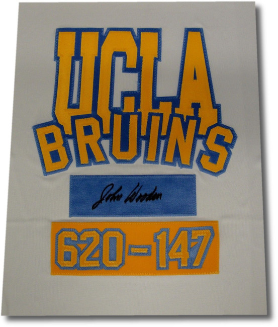 John Wooden Signed Autographed 12X14 Jersey Swatch UCLA Bruins 620-147 w/COA