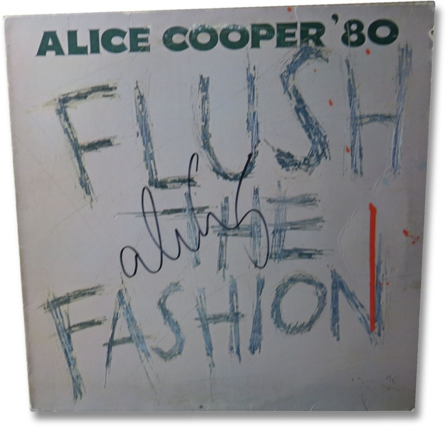 Alice Cooper Signed Autographed Album Cover Flush the Fashion JSA EE19974