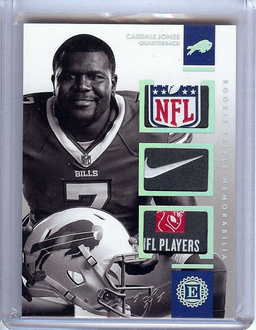 Cardale Jones 2016 Panini Encased Triple Patch Tag Buffalo Bills #5 1/1