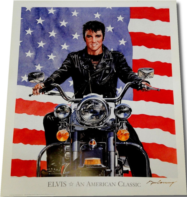 Elvis Presley 19x23 Photo Print Riding Motorcycle Amercian Classic Unsigned