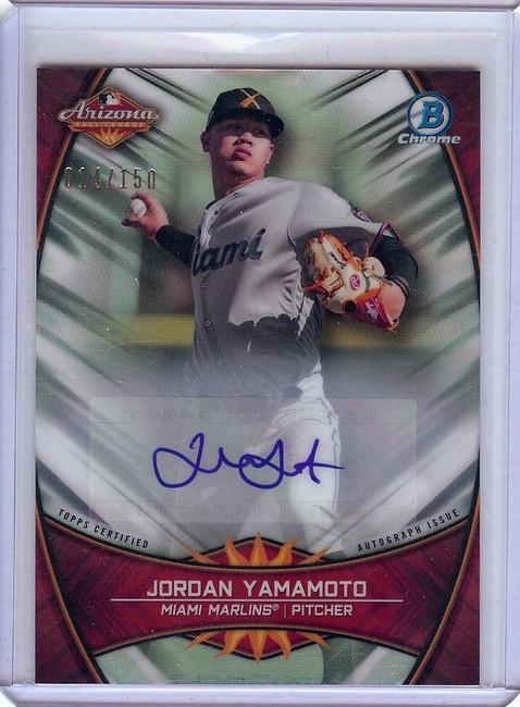 Jordan Yamamoto 2019 Bowman Chrome Arizona Auto Autograph Marlins #JY 014/150