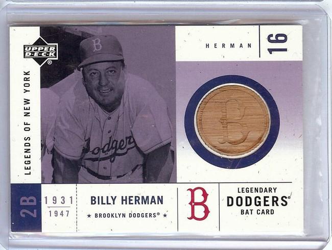 Billy Herman 2001 Upper Deck Legends of New York Bat Relic Dodgers #LDB-BH