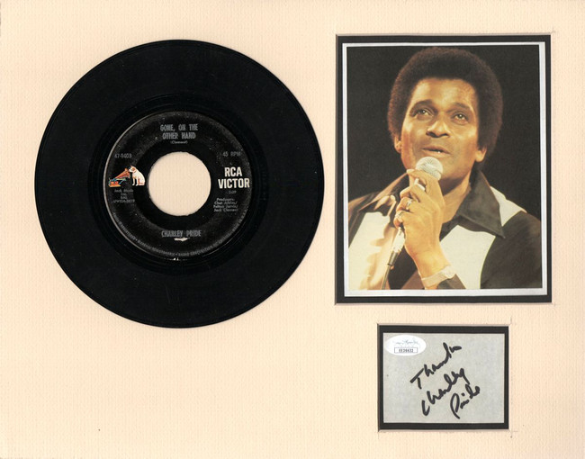 """Charley Pride Signed Autographed 11X14 Matted Cut w/ """"45 Record JSA EE36632"""