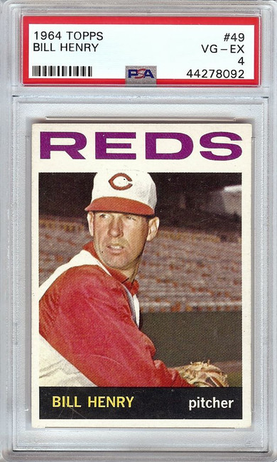 Bill Henry 1964 Topps Vintage Baseball Card Graded PSA 4 VG-EX Reds #49