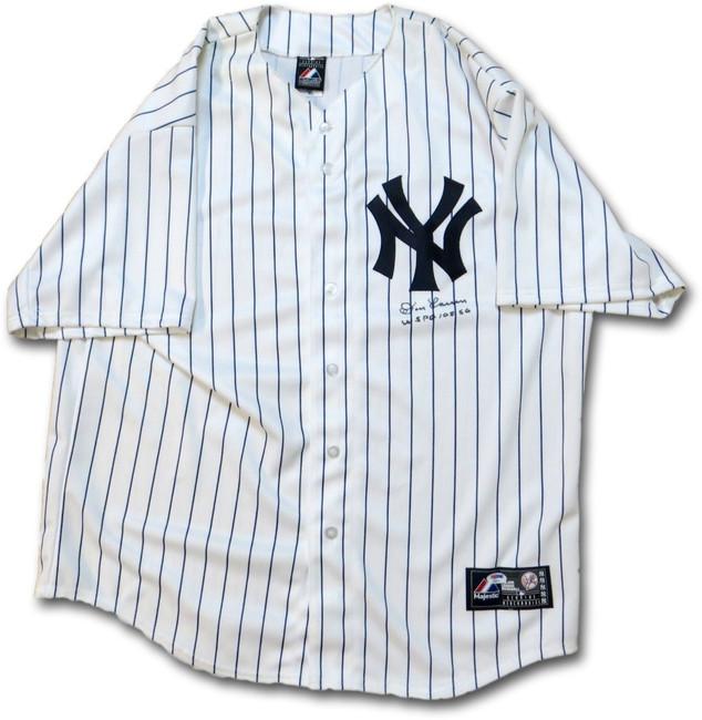 "Don Larsen Signed Autographed Jersey NY Yankees ""WS PG 10-8-56"" PSA V19534"