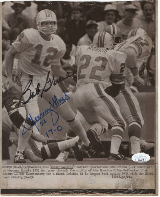 Bob Griese Mercury Morris Signed Autographed 8.5X10 Photo Dolphins JSA GG06058