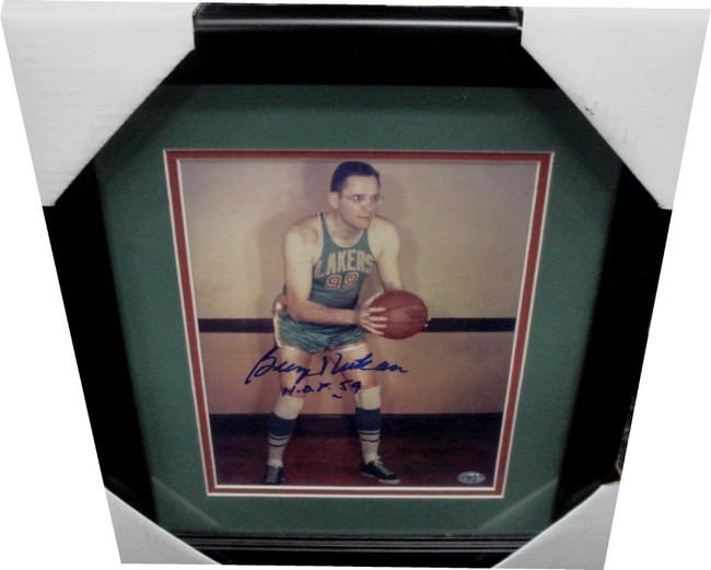 George Mikan Hand Signed Auto 8x10 Photo MLPS Lakers Framed HOF 59