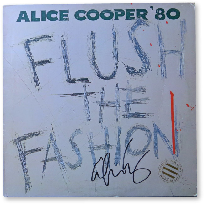 Alice Cooper Signed Autographed Record Album Cover Flush the Fashion JSA GG68668