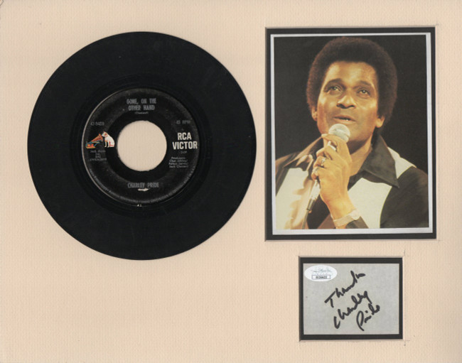 Charley Pride Signed Autograph Cut Signature Matted Photo 45 Record JSA EE36632