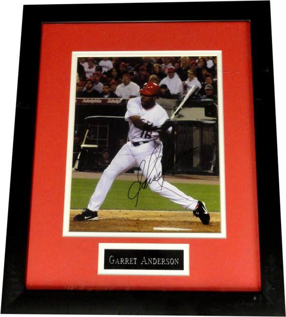 """Garret Anderson Hand Signed Autographed Framed 8""""x10"""" Photograph Angels COA"""