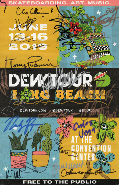2019 Dew Tour Skateboarding Autographed 11X17 Poster Beasley Colbourn GV910468