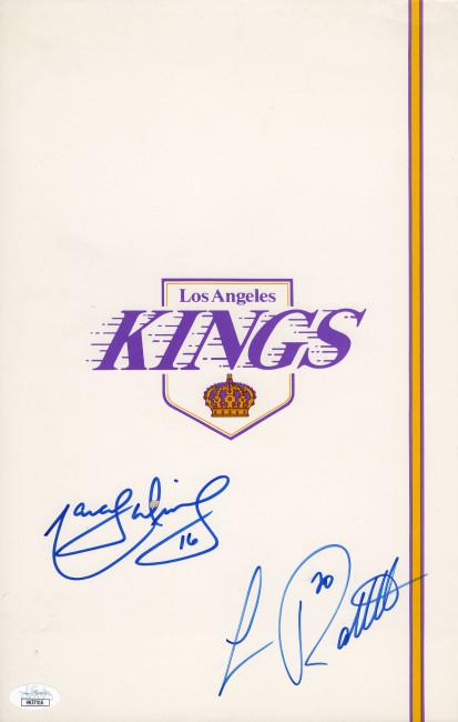 Marcel Dionne Luc Robitaille Signed Autographed File Folder LA Kings JSA COA