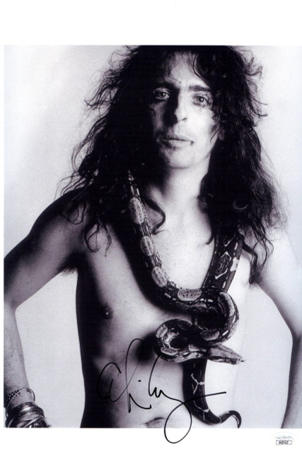 Alice Cooper Signed Autographed 11X17 Photo Vintage B/W w/Snake JSA HH37427