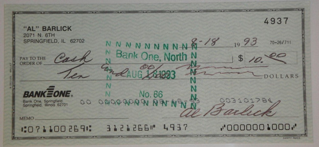 Al Barlick Hand Signed Autographed Personal Check # 4937
