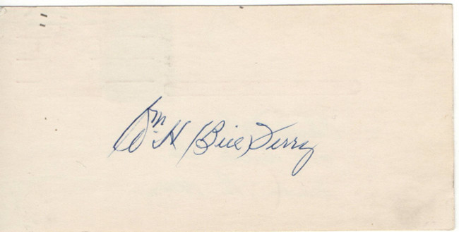 Bill Terry Signed Autographed Cut Signature New York Giants JSA Q22657