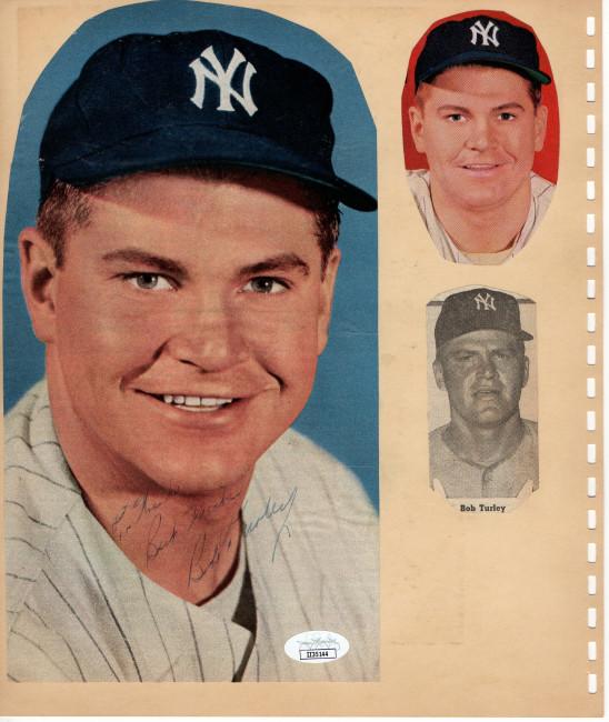 Bob Turley Signed Autographed Vintage Scrapbook Page Cut Yankees JSA II35144
