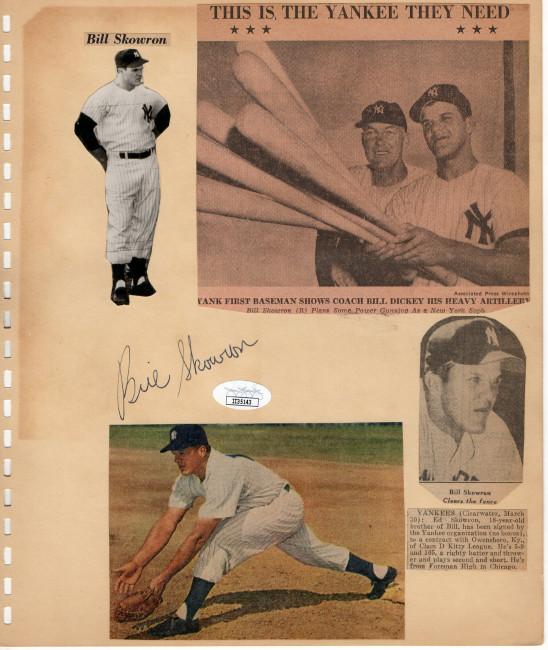 Bill Skowron Signed Autographed Vintage Scrapbook Page Cut Yankees JSA II35143