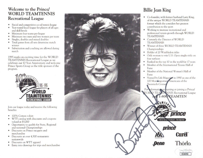 Billy Jean King Signed Autographed 8X10 Photo 1995 Promo Team Tennis JSA II24352