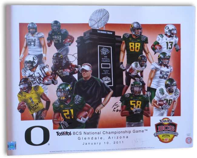 2011 Oregon Multi Signed Autograph 18X24 Poster LaMichael James Six Sigs JSA COA