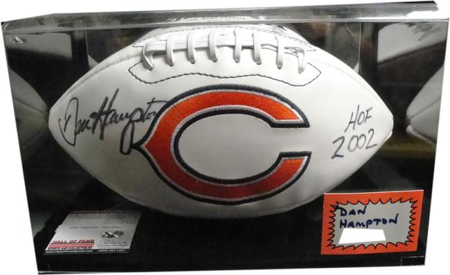 Dan Hampton Hand Signed Autographed Football W/ Case Chicago Bears HOF 2002 COA