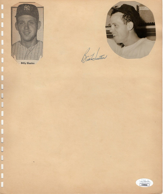 Bill Hunter Tommy Byrne Autographed Scrapbook Page Yankees Cardinals JSA II59900
