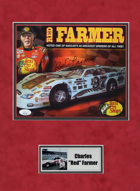 Charles Red Farmer Signed Autograph Matted 8X10 Photo NASCAR Driver JSA II44358