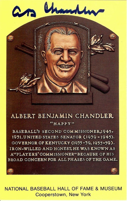 Al Happy Chandler Signed Autographed HOF Postcard Commissioner JSA II35625