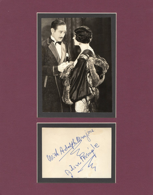 Aileen Pringle Autographed Matted Cut Signature A Kiss in the Dark JSA II59878