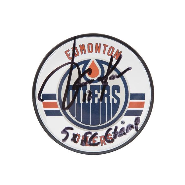 "Jari Kurri Signed Autographed Acrylic Oilers Puck Inscribed ""5X SC Champ"" UDA"