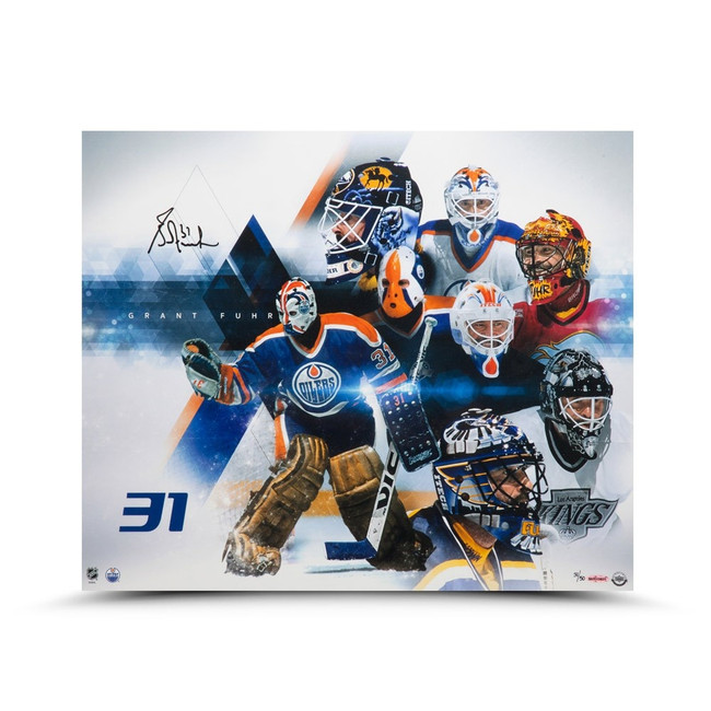 """Grant Fuhr Signed Autographed 20X24 Photo """"Evolution"""" Oilers Kings #/50 UDA"""