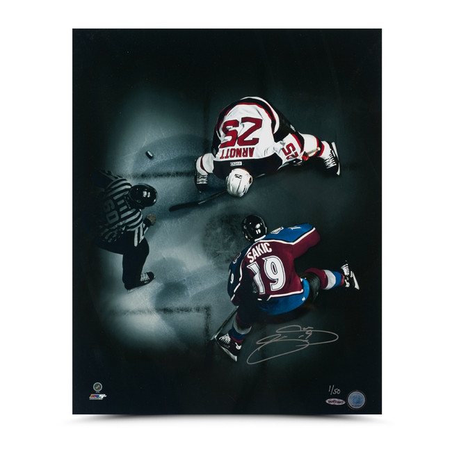 "Joe Sakic Signed Autographed 16X20 Photo ""Face-Off"" Colorado Avalanche #/50"