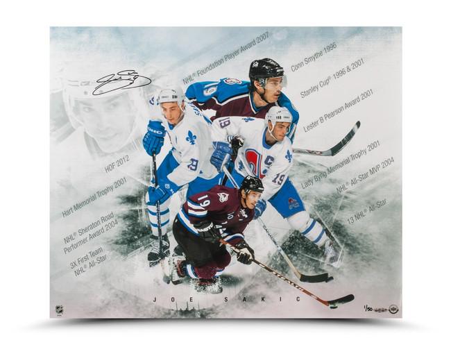 """Joe Sakic Signed Autographed 20X24 Photo """"Super Joe"""" Avalanche Nordiques #/50"""