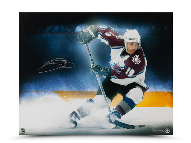 """Joe Sakic Signed Autographed 16X20 Photo """"Stop on a Dime"""" Avalanche #/50"""