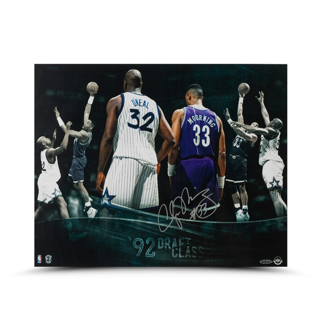 "Alonzo Mourning Signed Autographed 16X20 Photo ""Draft Class"" Hornets #/33 UDA"