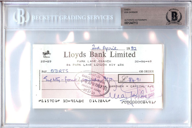 Ava Garner Signed Autographed Personal Check Actress 1982 $84.91 Beckett BGS
